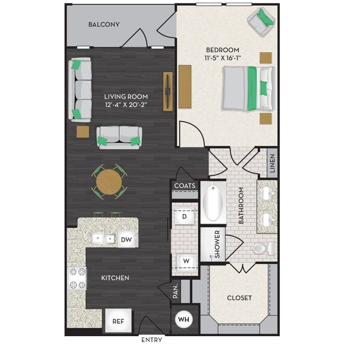 899 sq. ft. A4 floor plan