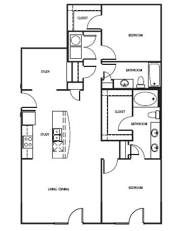 1,250 sq. ft. B4-E floor plan