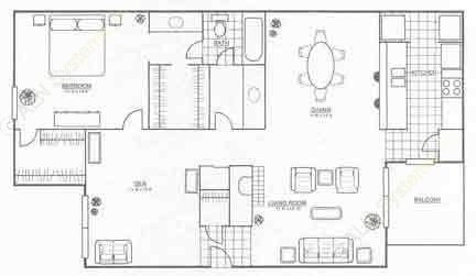 1,040 sq. ft. A5 floor plan