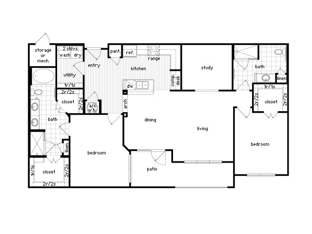 1,478 sq. ft. B4 floor plan