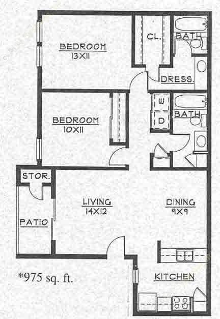 975 sq. ft. B1 floor plan