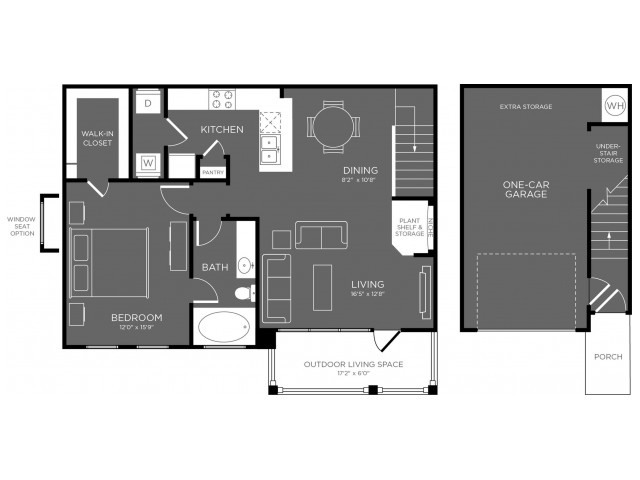 903 sq. ft. to 907 sq. ft. Guadalupe floor plan