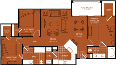 1,309 sq. ft. Riviera floor plan
