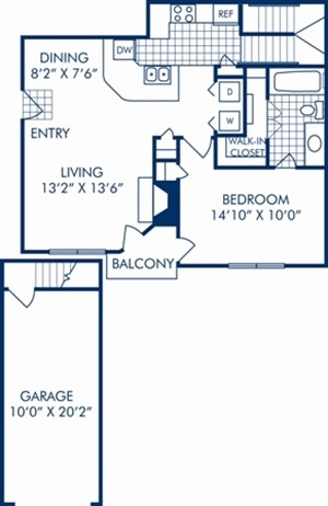 791 sq. ft. A3R floor plan
