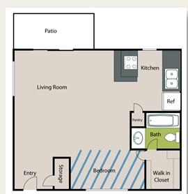 371 sq. ft. EFF floor plan