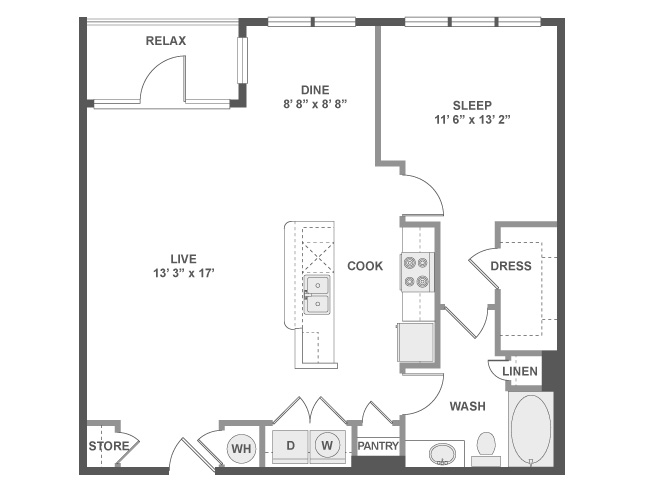 912 sq. ft. A5 floor plan
