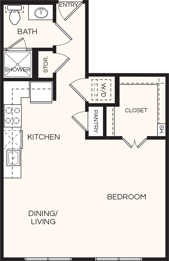 612 sq. ft. A0 floor plan