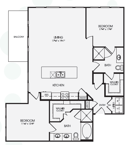 1,239 sq. ft. Sanctuary/B4 floor plan