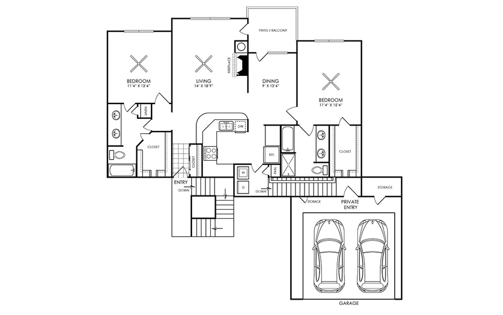 1,286 sq. ft. B3 floor plan