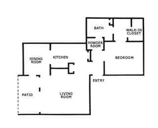 793 sq. ft. A2 floor plan