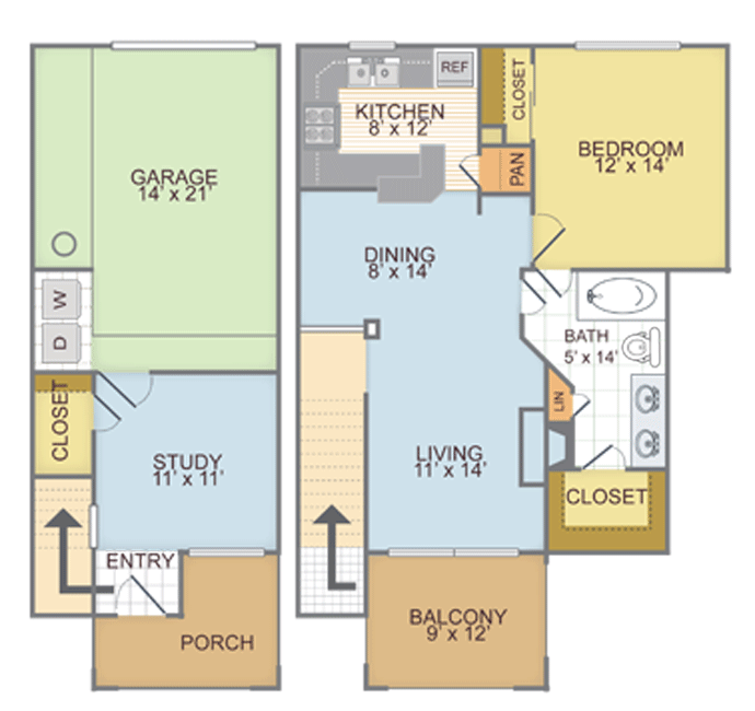 998 sq. ft. 1M floor plan