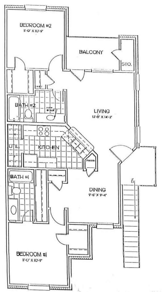 948 sq. ft. WINDSOR floor plan