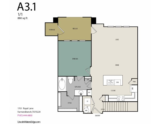 850 sq. ft. to 890 sq. ft. A3G floor plan