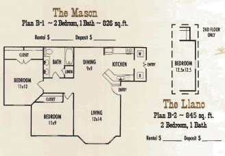845 sq. ft. Mason Ranch floor plan