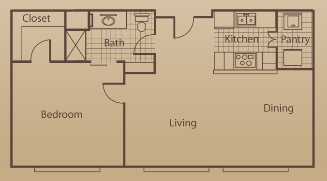 676 sq. ft. to 1,350 sq. ft. floor plan
