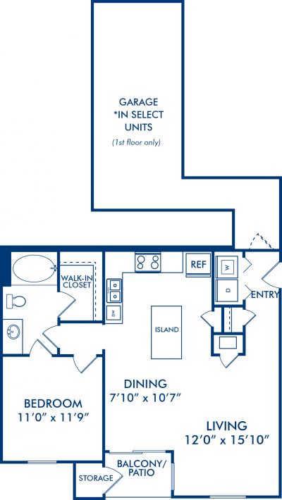 811 sq. ft. Pasofino floor plan