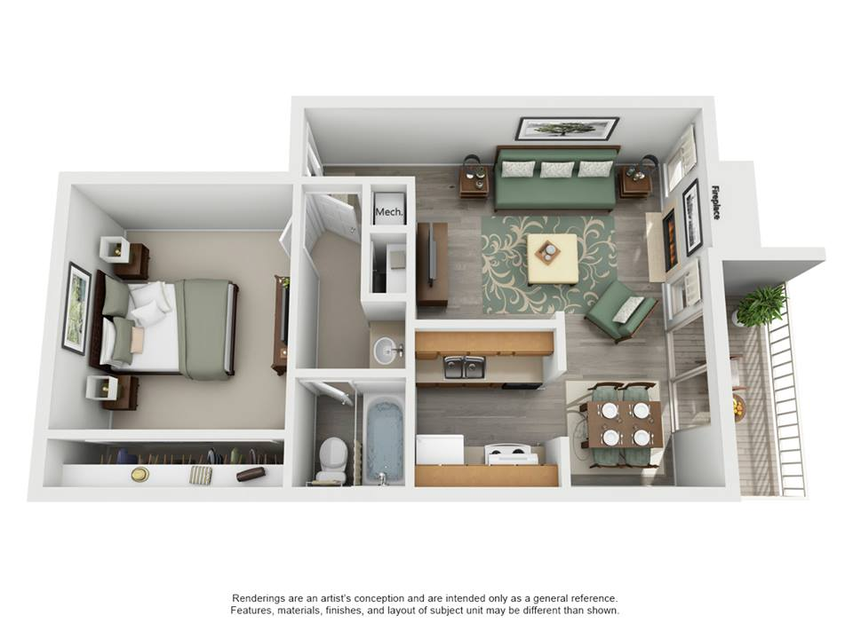 669 sq. ft. B - Shorewood floor plan