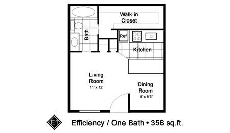 358 sq. ft. E1 floor plan