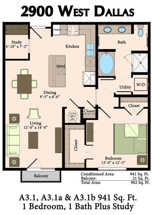 941 sq. ft. A3.1,A3.1A, A3.1B, A3.1C, A3.2 floor plan