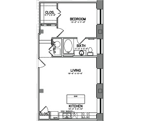 817 sq. ft. A6 floor plan
