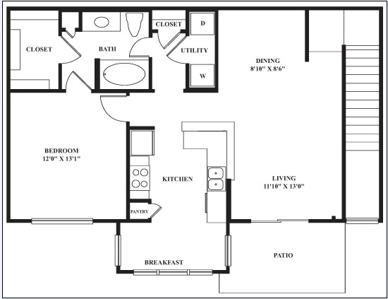 855 sq. ft. MUSTANG floor plan