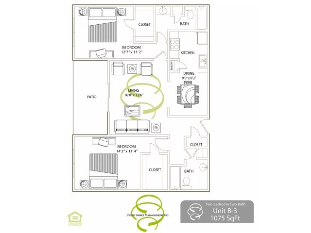 1,075 sq. ft. B3 floor plan