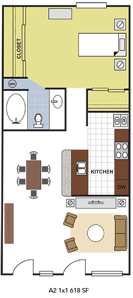 618 sq. ft. A2 floor plan