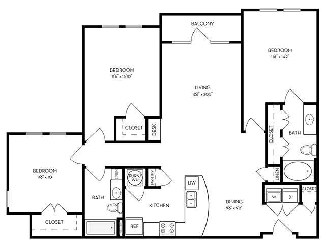 1,395 sq. ft. C1-Indigo floor plan