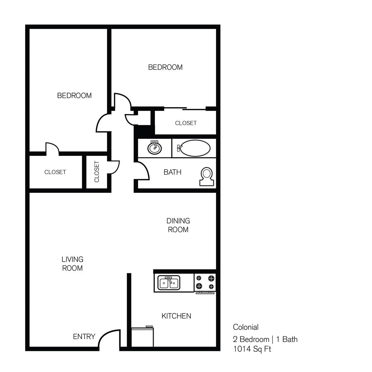739 sq. ft. Colonial 1 floor plan