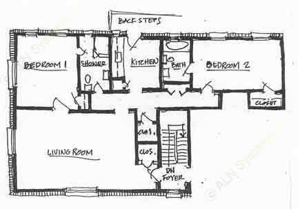 950 sq. ft. B-2 floor plan