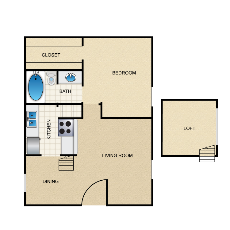 633 sq. ft. A6 floor plan