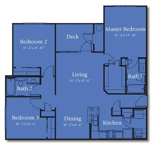 1,201 sq. ft. 50% floor plan