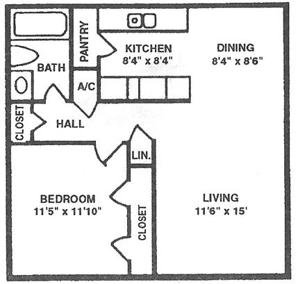 602 sq. ft. A floor plan