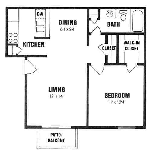 624 sq. ft. A-2 floor plan