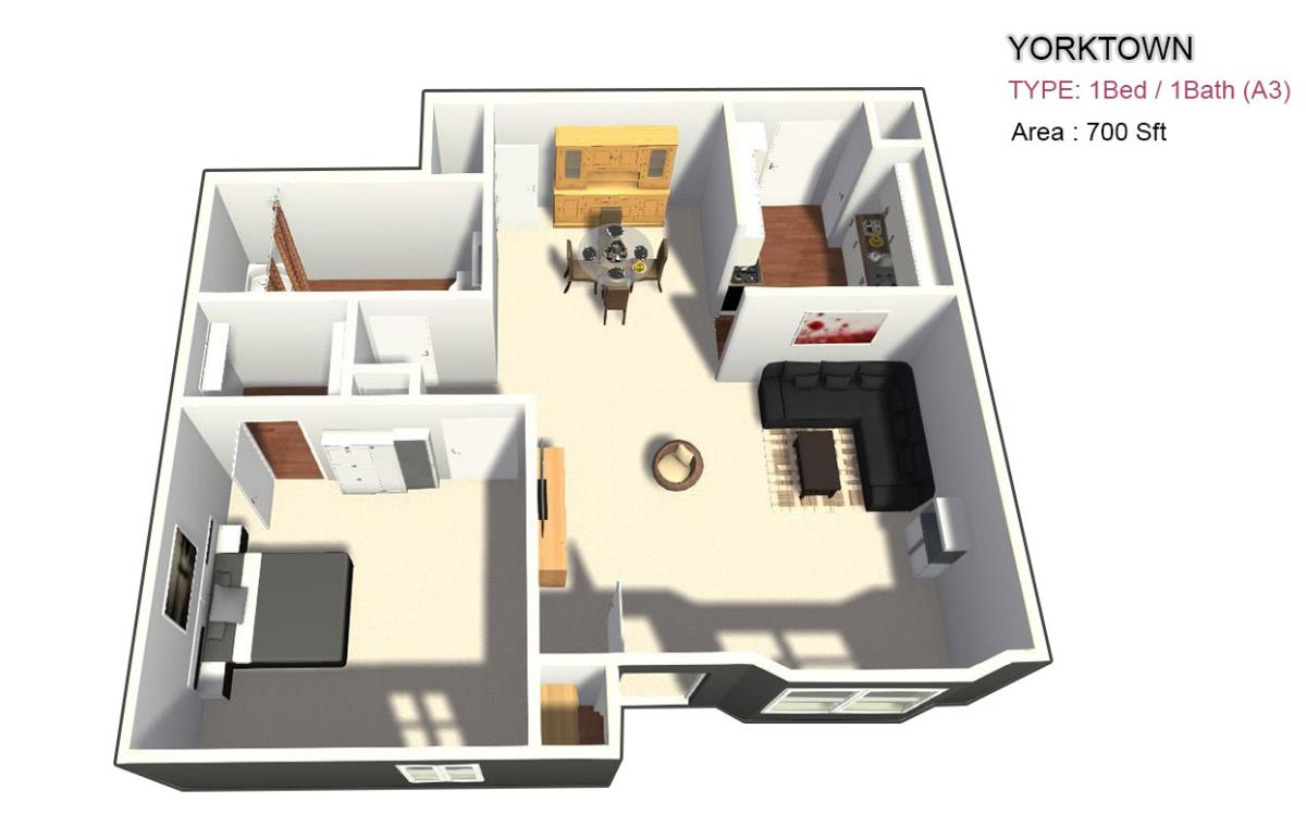 735 sq. ft. 1X1 floor plan