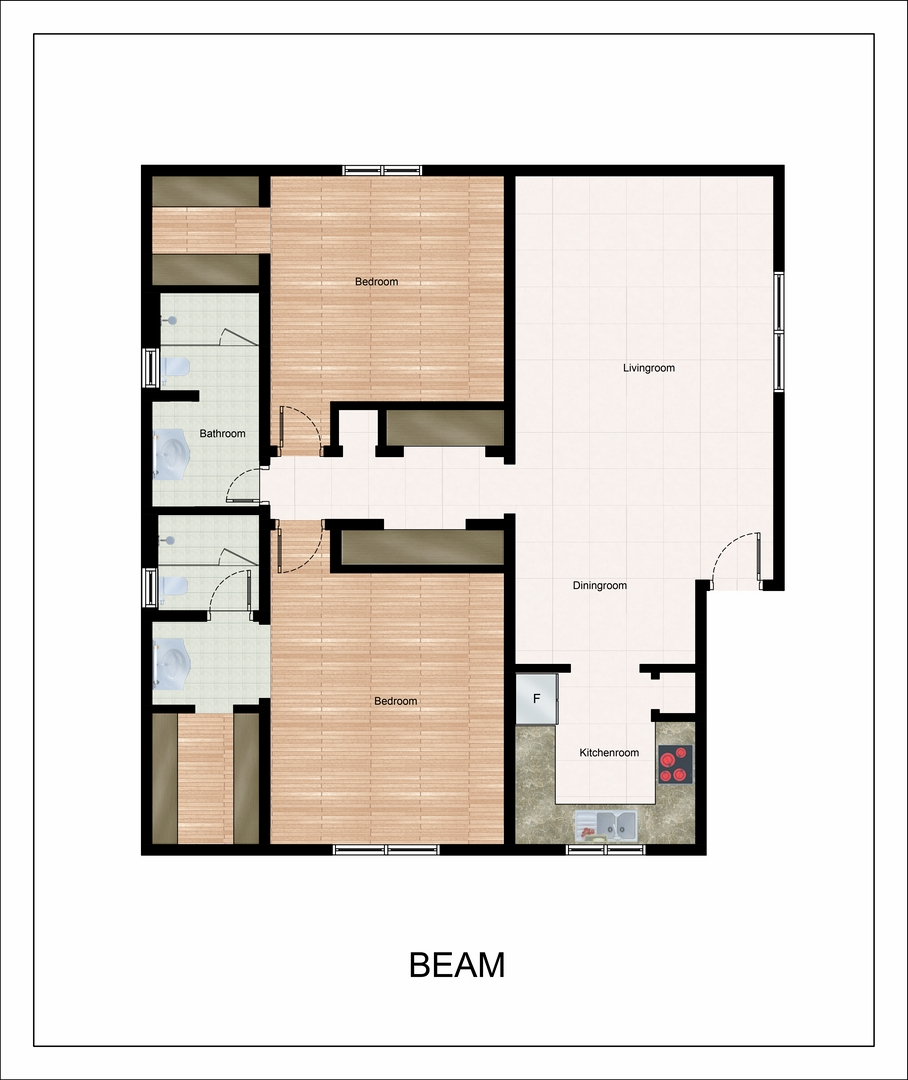 955 sq. ft. Beam floor plan