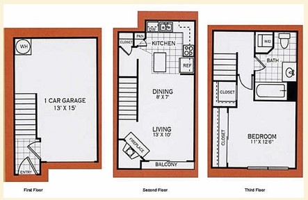 763 sq. ft. A1BTownhome floor plan