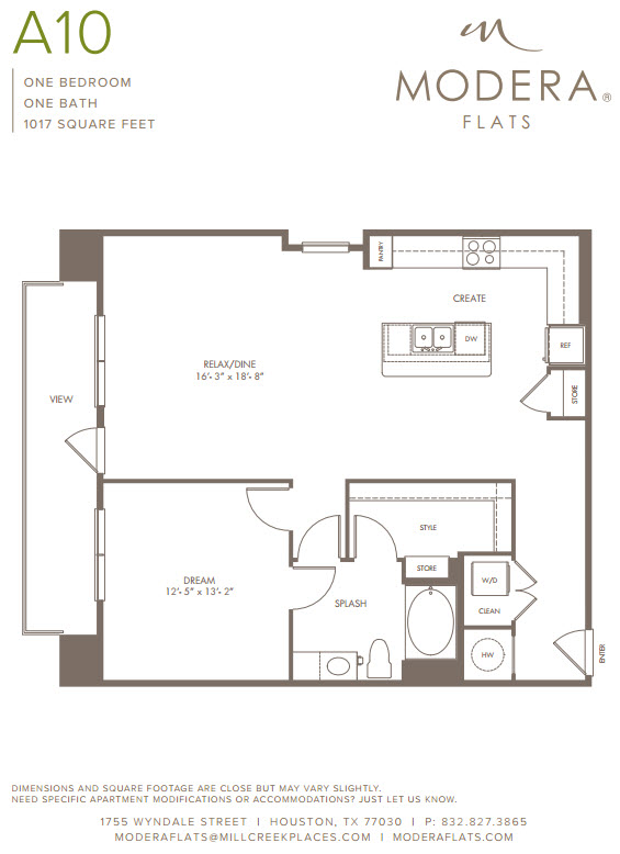 1,017 sq. ft. A10 floor plan