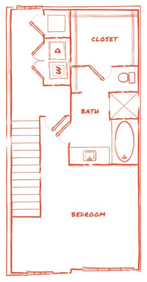 1,091 sq. ft. TH1 floor plan