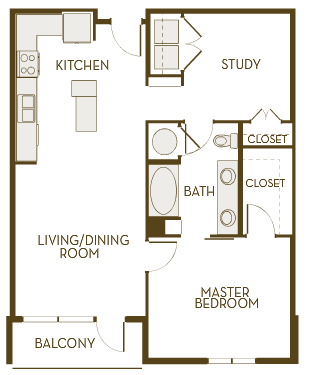 926 sq. ft. A1AD floor plan