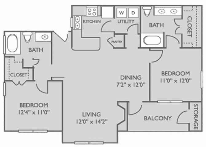 1,081 sq. ft. Hawthorn floor plan