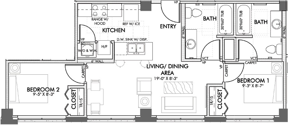 726 sq. ft. Macon floor plan