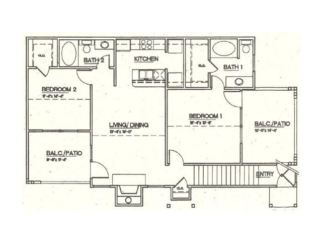 1,050 sq. ft. B4 floor plan
