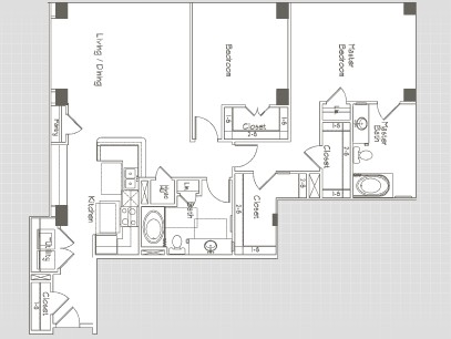 1,407 sq. ft. B4 floor plan
