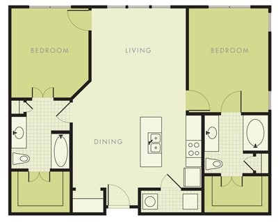 1,087 sq. ft. B1 floor plan