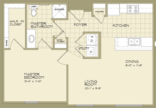 700 sq. ft. MAGNOLIA/60% floor plan
