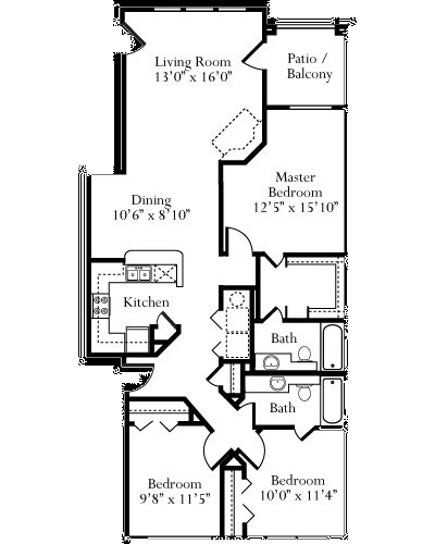 1,243 sq. ft. Cypress floor plan