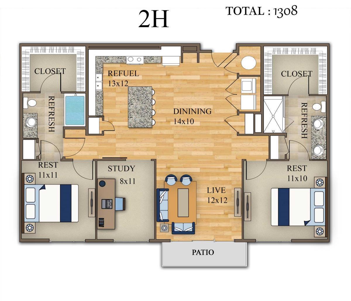 1,308 sq. ft. 2H floor plan