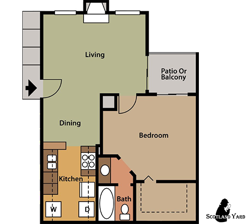 676 sq. ft. A5 floor plan