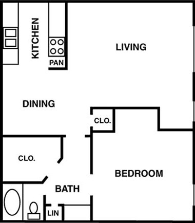 700 sq. ft. to 702 sq. ft. floor plan